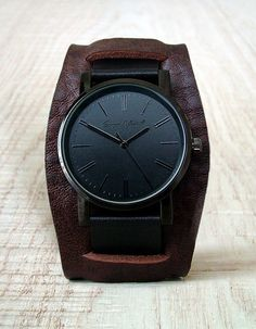 Sergio Montell Men's Brown-Black Leather Cuff Watch - Black Tone/Black Face - Minimalist Leather Cuff Watch, Mens/Womens Cuff Watch, Stainless steel watch with leather cuff