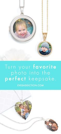 Create a treasured keepsake with one of your favorite family photos with a beautiful photo pendant. Eve's Addiction offers a simple photo upload process that will create a touching Mother's Day gift for mom and grandma. Created and shipped in 24 hours, you can also save 30% on your order! #motherdaygiftidea