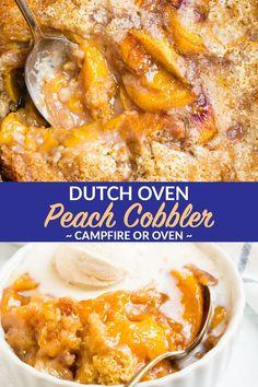 Dutch Oven Potatoes, Dutch Oven Bread, Dutch Oven Camping, Dutch Oven Whole Chicken, Dutch Oven Peach Cobbler, Dutch Oven Desserts, Camping Desserts, Camping Recipes, Camping Ideas