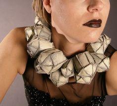 Necklace | Danielle James. 'Karat'. Faux Leather, Thread, Paint