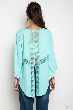 Kimono Sleeve Top With Sheer Lace Back Detail