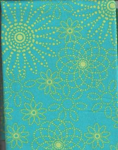 Cotton Fabric, Lime Green, Turquoise Flower Dots, Quilting, 1/2 Yard, more yardage available. $3.00, via Etsy.