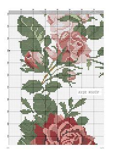 Güllü Büyük Masa Örtüsü Kanaviçe Şablon ~ Kumaş Kağıt Makas Cross Stitch Rose, Cross Stitch Embroidery, Embroidery Patterns, Cross Stitch Designs, Cross Stitch Patterns, Rico Design, Ribbon Work, Vintage Roses, Vintage Designs