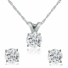 1.00ct Diamond Solitaire Pendant and Stud Earring Set in 14K White Gold (G/H SI2-I1) Amanda Rose Collection. $1249.00