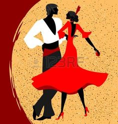 abstract red-beige background and couple of Spanish dancers