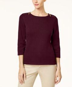 Karen Scott Cotton Zip-Shoulder Sweater, Created for Macy's - Red XXL
