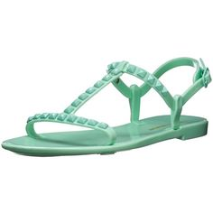 Rebecca Minkoff Women's Sava Jelly Sandal ($37) ❤ liked on Polyvore featuring shoes, sandals, flats, t bar shoes, t strap flat shoes, t-bar sandals, jelly sandals and rebecca minkoff