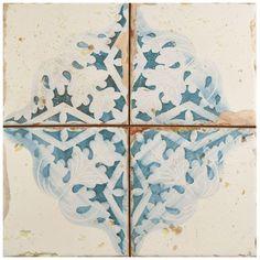Merola Tile Artisan Azul Decor 13 in. x 13 in. Ceramic Floor and Wall Tile (12.2 sq. ft. / case), Azul/Low Sheen