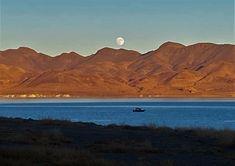 Moon over pyramid lake