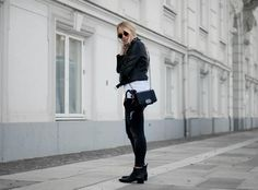 My go-to Zara biker jacket Undone t-shirt Pieces jeans Acne boots Street style Outfit Bykrog (7 of 7)