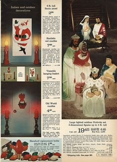 Blow Mold Nativity Set in Montgomery Ward Christmas Catalog, 1968, by Wishbook, via Flickr.  We had this nativity set.