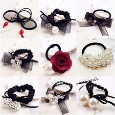 1 Piece Korean Pearl Towel Ring Candy Color Ring Hair Headdress Elastic Hair Bands Cute Hair Accessories Women Girls Headwear Rapid Heat Dissipation Apparel Accessories