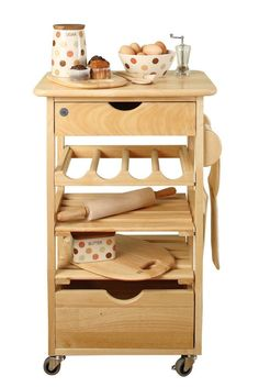 T G Kitchen Compact Trolley Natural Hevea Finished In With 2 Drawers Hand Towel Rail 4 Bottle Wine Rack Slatted Shelves Wheels Lockable