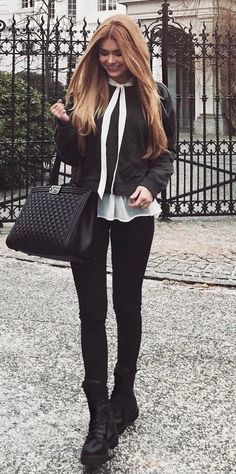 fashion trends _ bomber + blouse + bag + black skinnies + boots