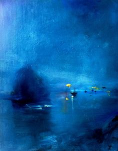harbor in blue, for stacie. painting by zachary johnson