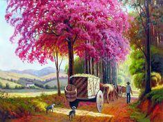 EDMUNDO MACHADO: 2011 Unique Paintings, Beautiful Paintings, Fantasy Art Landscapes, Thomas Kinkade, Fine Art, Parks And Recreation, Pictures To Paint, Flower Art, Amazing Art