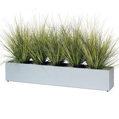 JARDINIERE DE GRAMINEES - plantes artificielles - vendues dans un bac rectangulaire en métal coloris gris (L.1200 mm x P.200 mm x H. 600 mm).
