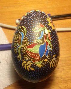 Turkey Egg Pysanka by Katrina Lazarev