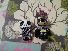 jack skeleton and batman polymer clay charms