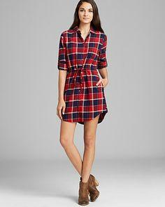 JACHS Girlfriend Shirt Dress - Eda Plaid Tie Waist | Bloomingdale's