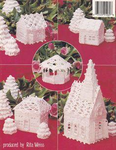 Christmas Village Crochet Patterns, Church Cottages