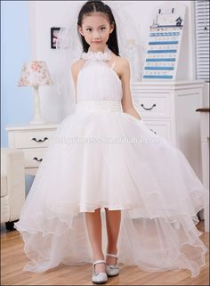 2017 Brand New Halter Design Princess Flower Girl Dress White Vestidos For Wedding Children Clothes For Party Childrens Bridesmaid Dresses, Wedding Dresses For Kids, Amazing Wedding Dress, Wedding With Kids, Little Girl Dresses, Nice Dresses, Cheap Dresses, Women's Dresses, Girls Dresses