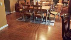 Red Oak Gunstock flooring in the #diningroom Photo compliments: Janice B.  #flooring #laminate