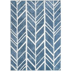 Alder Blue Rayon from Bamboo Rug 4' x 6', White