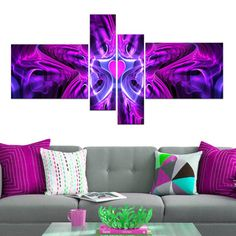 Abstract 'Heart at the Center' 4-piece Purple Canvas Art Set