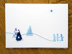 Genähte Weihnachtskarte mit 3 Königen
