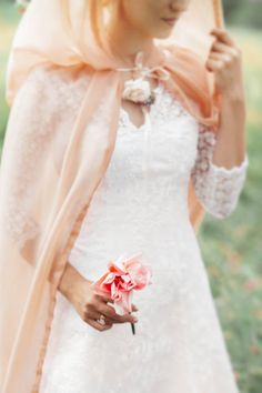 Sheer hooded cape, in blush pink instead of peach. Ask Kelsey.