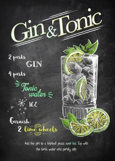 Gin and Tonic Vintage Posters Poster Print Gin Recipes, Coctails Recipes, Alcohol Drink Recipes, Gin Fizz, O Gin, Cocktails, Cocktail Drinks, Alcoholic Drinks, Gin Und Tonic