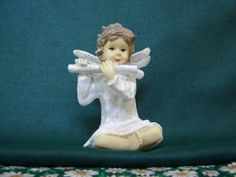 Vintage ANGEL Playing Flute White Gown by BackStageVintageShop