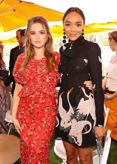 Zoey Deutch in Christian Dior and Ashley Madekwe in Reformation at the Veuve Clicquot Polo Classic in Los Angeles.