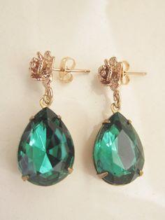 Emerald Green Earrings Emerald Drop Earrings May by GoingHoLLyWood, $28.00
