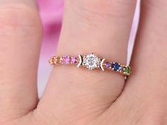 Round Moissanite Engagement Ring Rainbow Accent Gemstones 14K Rose Gold 3.5mm