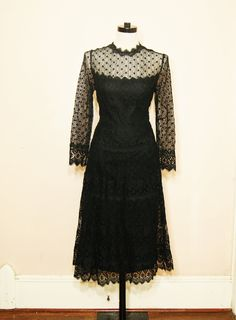 Black Lace Maxi Dress Medium Large Sheer Sleeves Goth Witchy Long Black Dress Vintage.