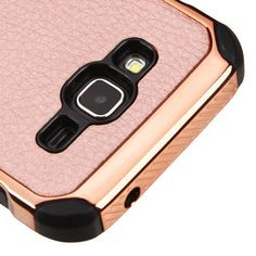 FOR SAMSUNG Galaxy J3 / J320 ROSE GOLD Lychee Grain COVER CASE +SCREEN PROTECTOR