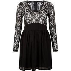 Mela Black Contrast Lace V Neck Dress ($25) ❤ liked on Polyvore featuring dresses, long-sleeve mini dress, black dress, black cocktail dresses, long sleeve lace dress y long sleeve fit and flare dress