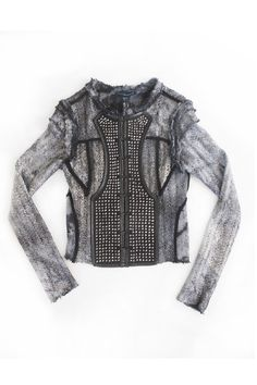 Grey Tie Dye Metal Foiled Miltary Jacket