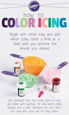 Choosing appropriate colors for your cakes will help you capture just the mood you want for any occasion! Match your grad colors! Frosting Colors, Icing Frosting, Frosting Tips, Cake Icing, Frosting Recipes, Eat Cake, Cupcake Cakes, Fondant Cakes, Wilton Icing