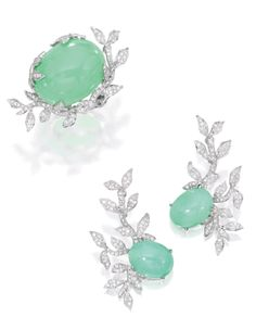 18 Karat White Gold, Green Opal and Diamond Ring and Earrings, Sifen Chang | Lot | Sotheby's
