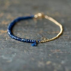 Blue Sapphire Gemstone Bracelet Precious Gem Gold Chain Delicate Handmade Jewelry