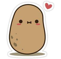 'Cute Potato in love' Sticker by clgtart <br> Photographic Print Cute Food Drawings, Cute Cartoon Drawings, Cute Kawaii Drawings, Kawaii Art, Kawaii Stickers, Love Stickers, Printable Stickers, Cute Potato, Kawaii Potato