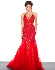 DHGateCharming Shining Crystle Beaded Sequins Halter Mermaid Sexy Long Formal Evening Dresses Red Halter Trumpet Gorgeous Party Prom Dress Gowns