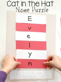 Seuss Cat in the Hat Name Puzzle Craft After reading The Cat in the Hat by Dr. Seuss kids can craft their own hat that spells their names!After reading The Cat in the Hat by Dr. Seuss kids can craft their own hat that spells their names! Dr. Seuss, Dr Seuss Week, Puzzle Crafts, Name Crafts, Preschool Lessons, Preschool Activities, Preschool Themes By Month, Preschool Reading Activities, Preschool Readiness