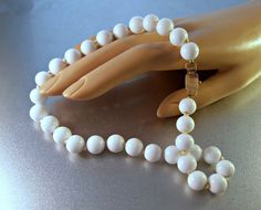 White Coral Bead Necklace 14K Rose Gold Clasp by LynnHislopJewels