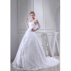 A-Form Hochzeitskleid Brautkleid mit Spitze Lange Schleppe
