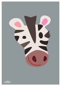 Childrens poster Zebra poster, 50x70 cm. Designed by Charlotte Søeborg Ohlsen, Littlelot Designstudio