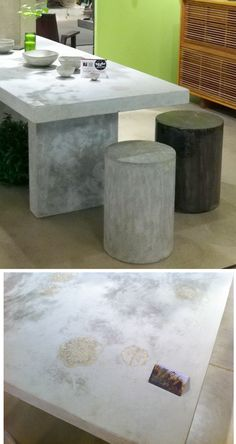 Concrete table with stools available in many neutral tones and sizes, but with one great detail. The top has fossilized impressions of leaves which gain a slightly different shade and add a really special detail to this otherwise very modern look. Eco Friendly, Natural - Really like the feel of it. #HPMkt #StyleSpotters by Bevara www.dec-a-porter.blogspot.com